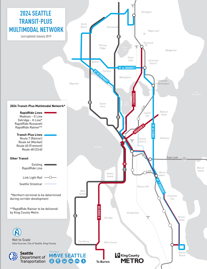 Map of the Seattle area showing planned upgrades and improvements to the 2024 Transit-Plus Multimodal Network.