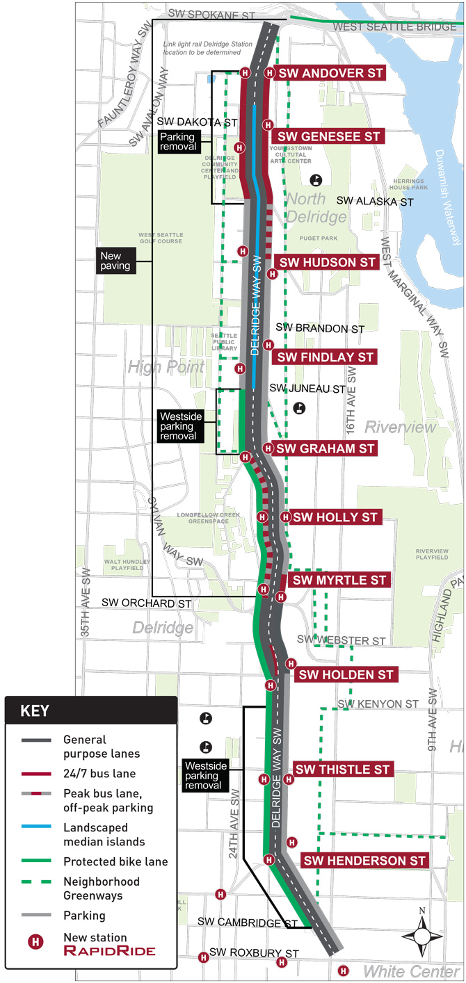 Map of the project area on Delridge Way SW between the West Seattle Bridge and SW Roxbury St.