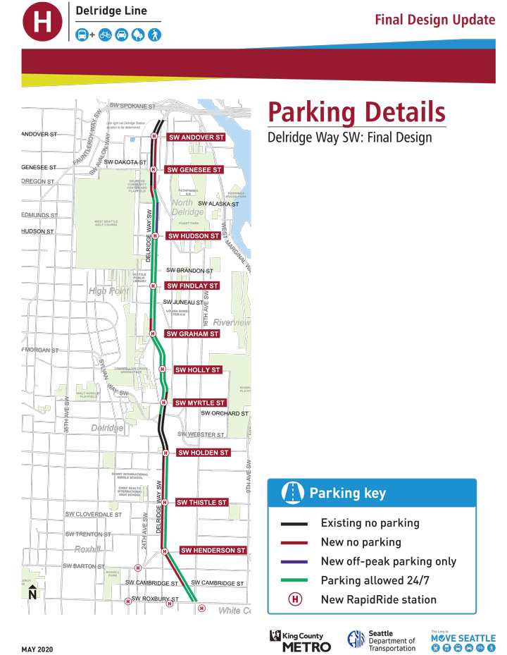 A map shows changes to parking, including new no parking zones and areas where parking is allowed 24/7.