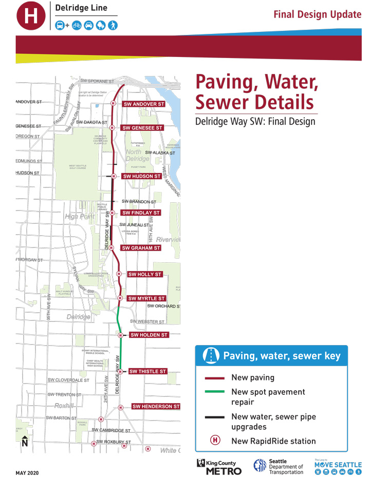 A map shows paving, water, and sewer improvements in the project area.