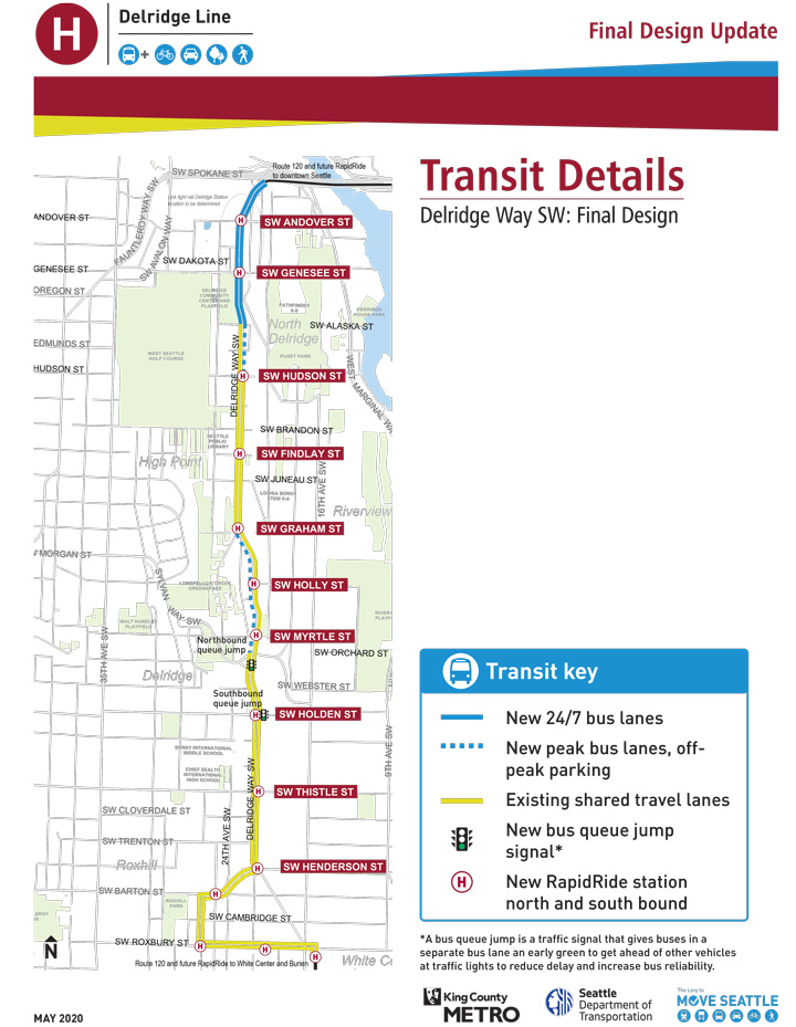 A map showing transit improvements along Delridge Way SW, including new 24/7 bus lanes and new peak-only bus lanes.
