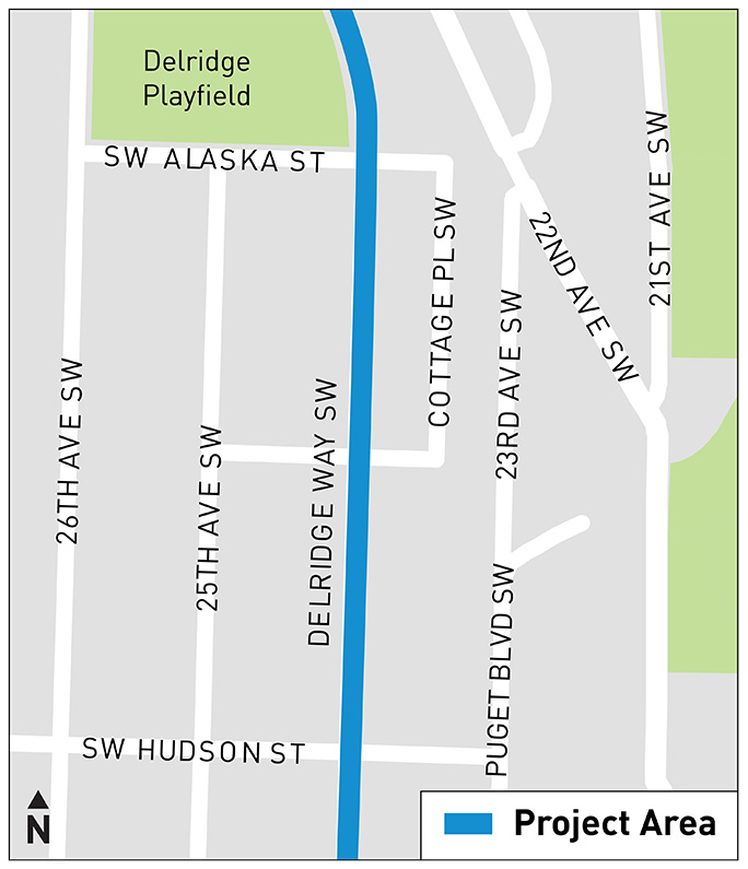 A map indicates that Area B is located between SW Alaska St and SW Hudson St.