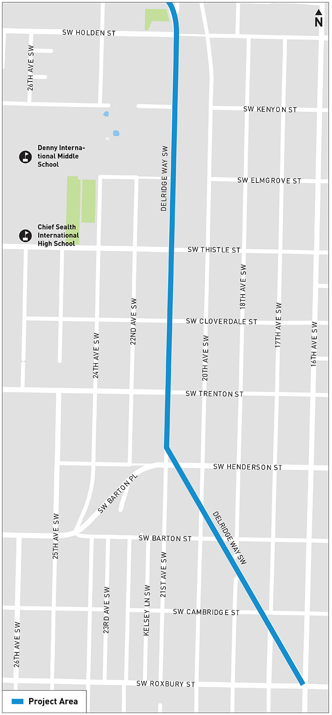 A map indicates that Area F is located between SW Holden St and SW Cambridge St.