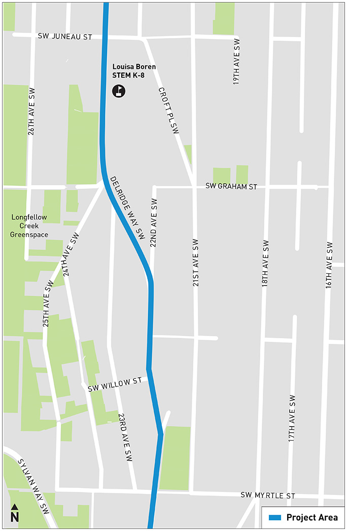 A map indicates that Area D is located between SW Juneau St and SW Myrtle St.