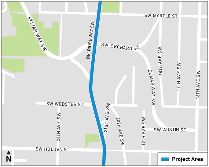 A map indicates that Area E is located between SW Myrtle St and SW Holden St.