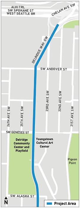 A map indicates that Area A is located between SW Andover St and SW Alaska St.
