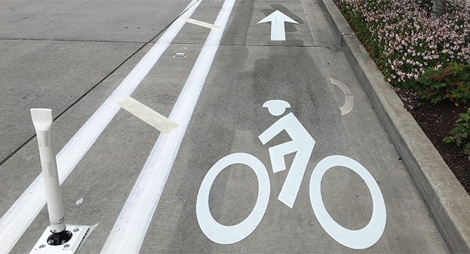 A marked bike lane is protected from traffic by a flexible post.