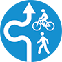 icon of bikes and peds taking detour