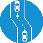 icon of lane shift around a work zone