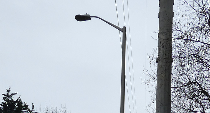A streetlight is shown over a roadway.
