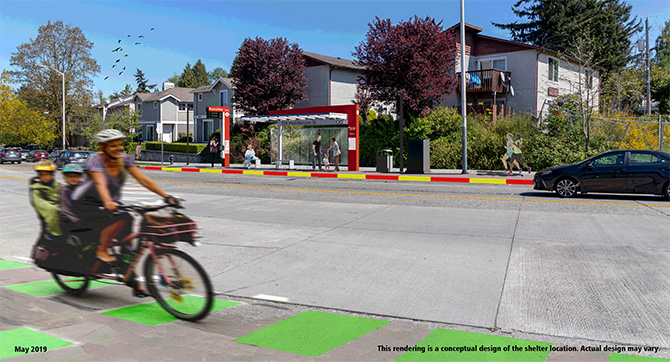 A rendering of a planned RapidRide bus shelter on Delridge Way SW.